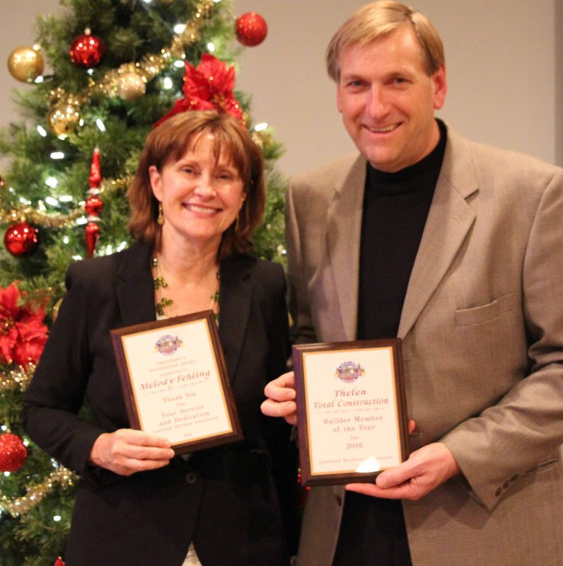 Randy Thelen & Melody Fehling receive awards from LBA
